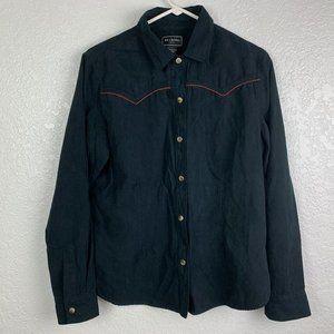 Bit & Bridle Size L Black Snap Front Western Shirt